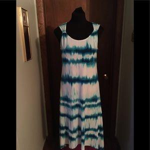 Chicos Aqua Watercolor Mid Length Dress Size 0